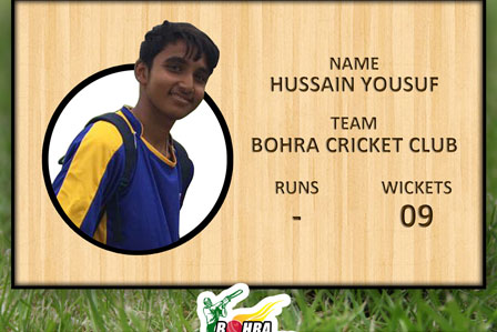 Youngest Emerging Player of the tournament from Bohra Cricket Club Hussain Yousuf age 16 years old took 9 wickets.
