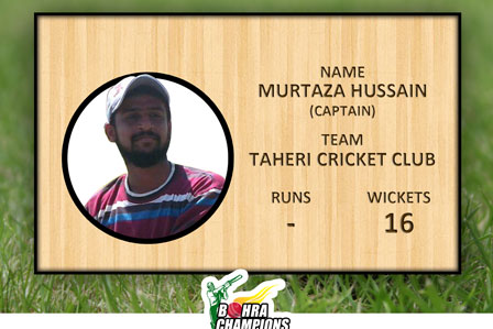 Best Bowler of the BCL-III 2016 from Taheri Cricket Club Mr.Murtaza Hussain he took 16 wickets in league 7 matches.