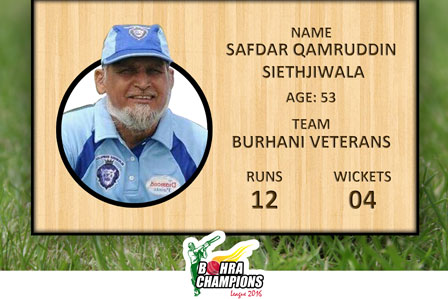 Most Senior Player of the Tournament from Burhani Vaterans Respected Mr. Safdar Qamruddin age 53 years old 4 wickets and 12 runs.