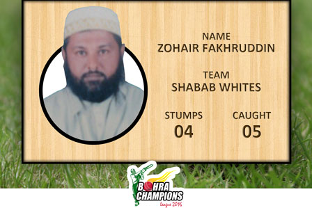 Best Wicket Keeper Award for the very first time in BCL-III 2016 to Shahbab Whites Mr. Zohair Fakhruddin 4 stumps 5 caught.